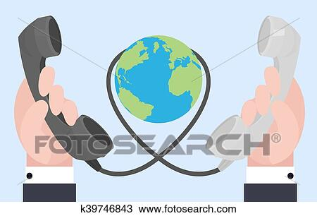 Incredible Flat Illustration Of Two Hands With Old Phones Wire Connections Wiring Digital Resources Dimetprontobusorg