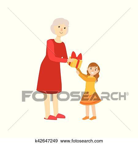 Grand Mère Donner Présent à Petite Fille Partie Grand Père Et Petit Enfant Temps Passager Ensemble Ensemble De Illustrations Clipart
