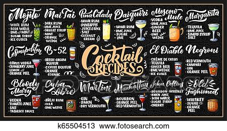 Lettering set of cocktails recipes. Template for card banner and poster for  bar menu and restaurant Clipart