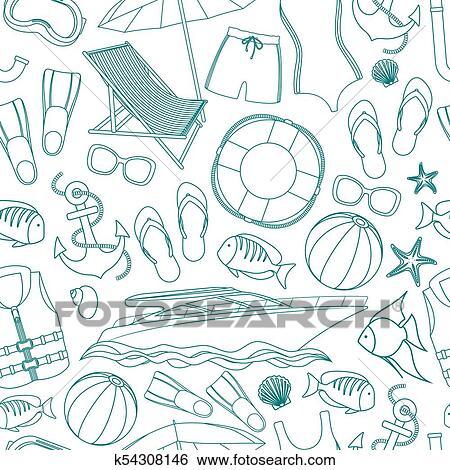 Seamless, fond, de, plage, grandes vacances, accessoires, dessin animé,  illustration., vecteur