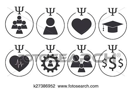 Clipart Of Set Of Psychology Symbols K27386952 Search Clip Art