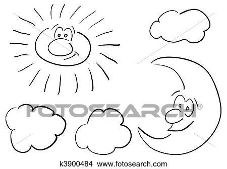 Dibujos Sol Y Luna K3900484 Buscar Clip Art Ilustraciones De