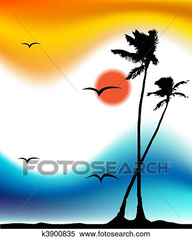 Sunset Silhouette Clip Art