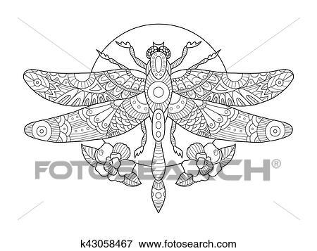 Clip Art - libélula, libro colorear, para, adultos, vector k43058467 ...