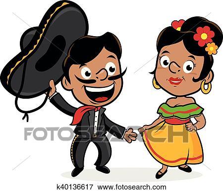 clip art of mexican mariachi man and woman k40136617 search rh fotosearch com mariachi clipart free mariachi guitar clipart