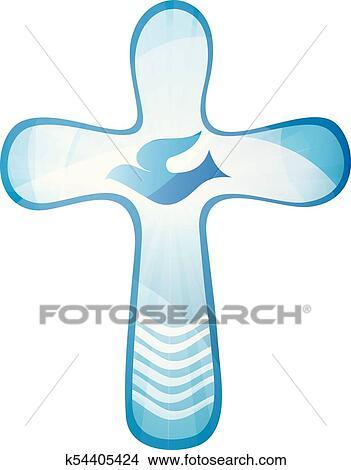 Taufe Christliche Kreuz Mit Taube Und Wellen Von