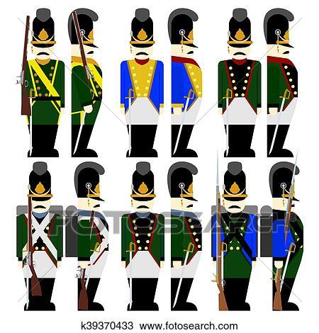 desenho uniformes militares exército bavaria em 1812 2