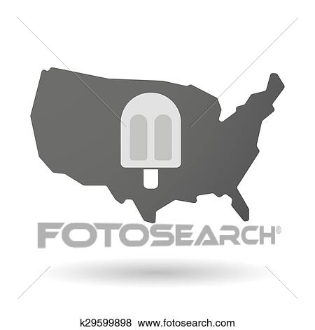 Clip Art Of Usa Map Icon With An Ice Cream K29599898 Search