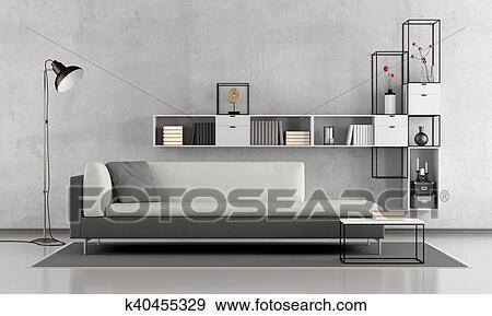 Stock Illustraties - zwart wit, woonkamer k40455329 - Zoek Vector ...