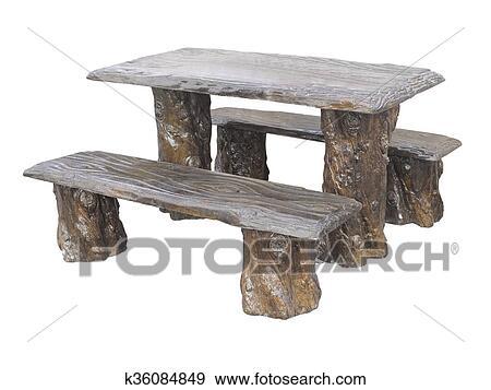 Braun Hölzern Gartenmöbel Tisch Und Stühle Freigestellt Hinüber Weiß Stock Foto