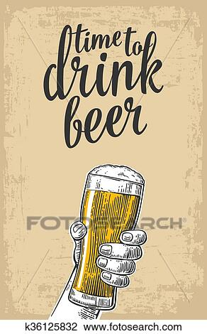 Clipart of male hand holding a beer glass vintage vector engraving vintage vector engraving illustration for web poster invitation to party time to drink isolated on baige old paper texture background stopboris Choice Image