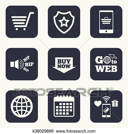 ba0e93a301f Clip Art - Online shopping icons. Smartphone