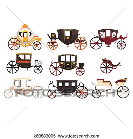 Retro carriages set, vintage transport, brougham, cab, wagon for traveling,  wedding carriage vector Illustrations on a white background Clipart |  k60883005 | Fotosearch