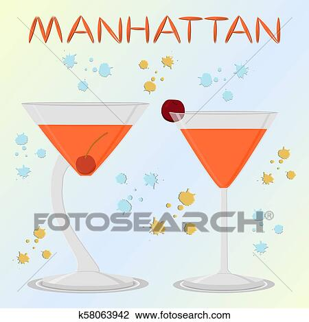 Vector Icon Illustration Logo For Alcohol Cocktails Manhattan From Red Berry Cherry Clipart K58063942 Fotosearch