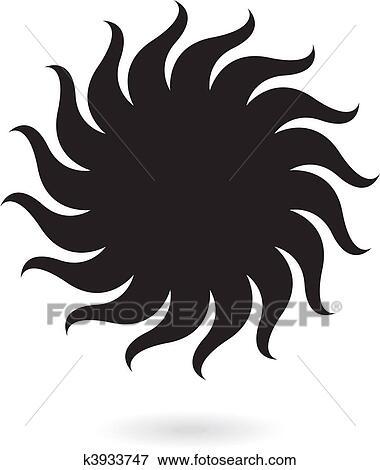 clip art of black sun k3933747 search clipart illustration Tree Clip Art black sun isolated on white
