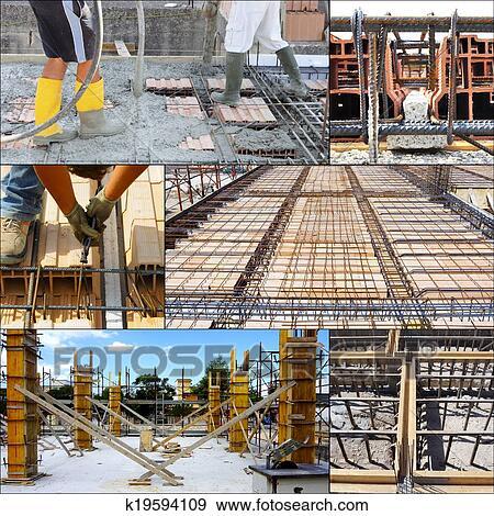 Stock Fotograf Collage Von Giessen Beton Auf Gross Boden