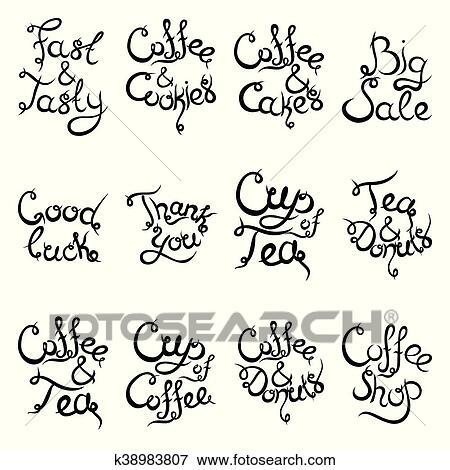 Jogo 2 De Cacheados Lettering Frases Para Café Shop