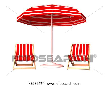 Drawing Red Beach Chair And Umbrella Fotosearch Search Clip Art Ilrations Wall