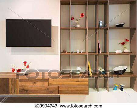 Decorare Mensole Legno : Immagine televisione su parete un legno legname mensola