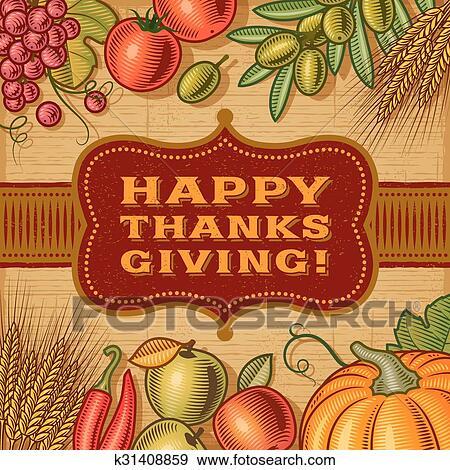 Vintage Happy Thanksgiving Card Clip Art K31408859 Fotosearch