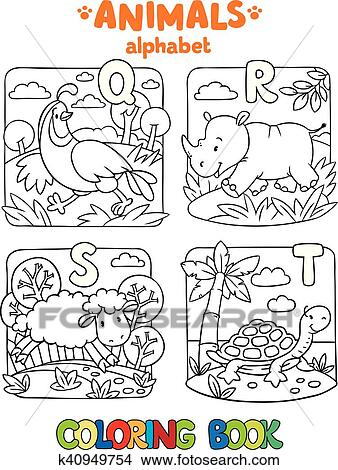 Animals alphabet or ABC. Coloring book Clipart