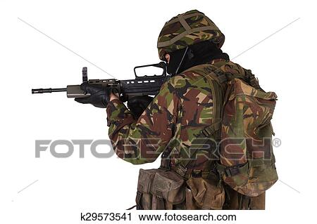 British Army Soldier with assault rifle Stock Photography