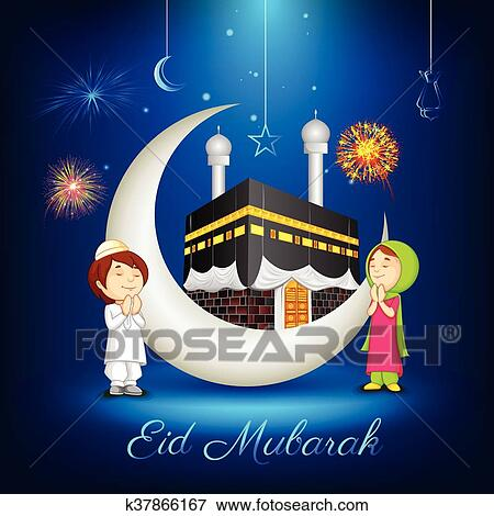 Clip art of muslim kids offering namaaz for eid k37866167 search vector illustration of muslim kids offering namaaz for eid mubarak m4hsunfo