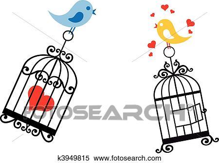 Dessin Oiseau En Cage clipart - oiseaux, amoureux, à, cage d'oiseaux k3949815 - recherchez