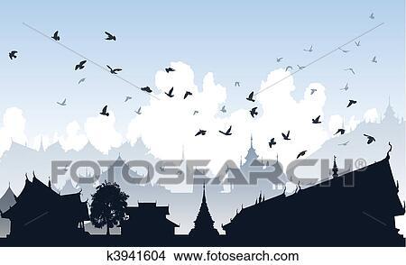 Clipart - oriental, oiseau, ville k3941604 - Recherchez des Clip ...