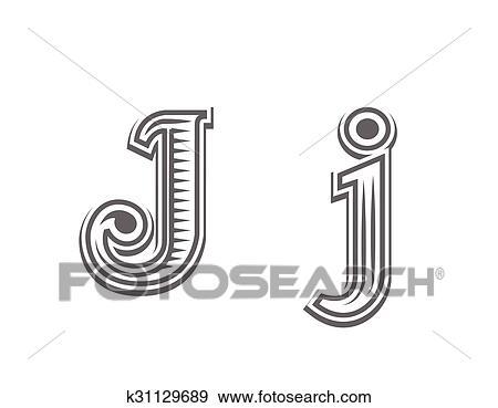 Police Tatouage Gravure Lettre J Clipart K31129689 Fotosearch