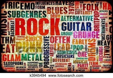 Rock Music Poster Art As Grunge Background