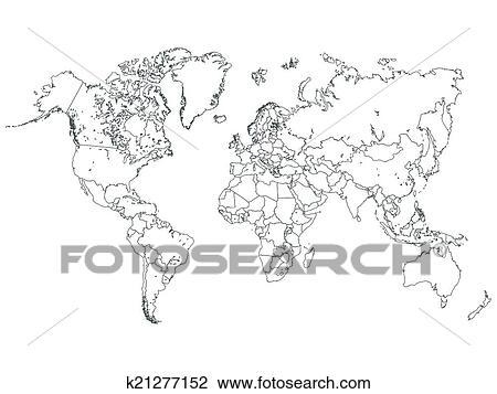 Clipart of world map outline illustration k21277152 search clip clipart world map outline illustration fotosearch search clip art illustration murals gumiabroncs Images