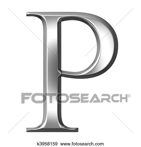 Stock Illustration Of 3d Silver Greek Letter Rho K3958159 Search