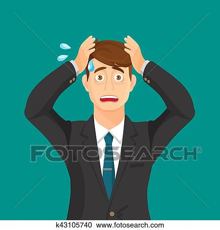 Anxiety person portrait on blue background. Cartoon ...