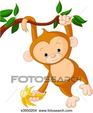 clipart of baby monkey on a tree k3950204 search clip art rh fotosearch com baby girl monkey clip art baby monkey clip art borders