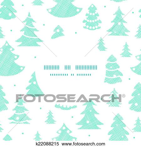 Christmas Trees Silhouette.Blue Decorated Christmas Trees Silhouettes Textile Round Frame Seamless Pattern Background Clipart