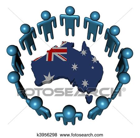 Australia Map And Flag.Circle Of Abstract People Around Australia Map Flag Illustration Stock Illustration