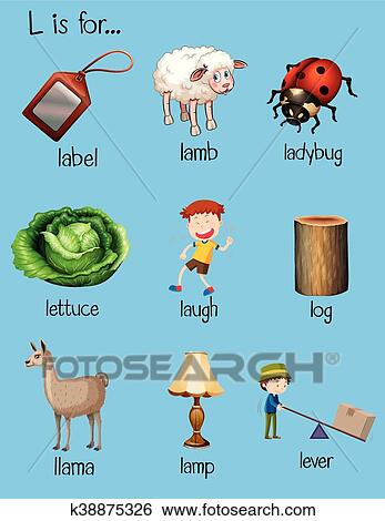 Clip Art Of Different Words Begin With Letter L K38875326 Search