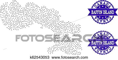 Dotted Map of Baffin Island and Textured Stamp Composition ...