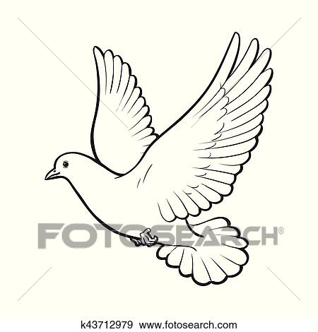 Free flying white dove, isolated sketch style illustration Clip Art
