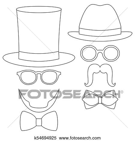 82945f74 Clipart - Icon line art poster man father dad day avatar element set hat  glasses mustache