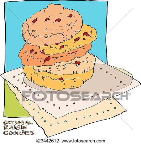 Quelques,uns, petits gâteaux flocons avoine, à, raisins secs, mensonge,  sur, a, napkin., série, de, vecteur, illustrations, de, nourriture