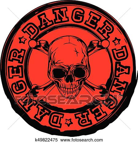 Red Skull Stamp Danger Clipart K49822475