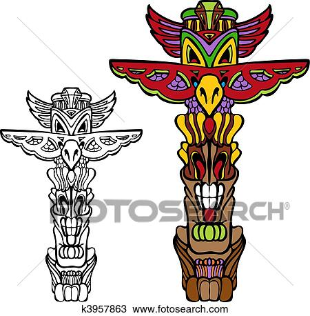 clipart of totem pole k3957863 search clip art illustration rh fotosearch com hawaiian totem pole clipart totem pole outline clipart