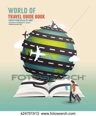 Clipart welt reise design ge ffnetes buch f hrer for Buch design