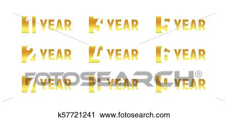 Clipart of anniversary of company gold negative space sign anniversary of company gold negative space sign business birthday vector logo set golden numbers year num celebration card design element stopboris Images