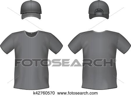 Clipart - Black men's t-shirts and baseball cap template.. Fotosearch - Search