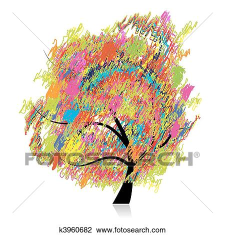 clipart buntes kunst baum bleistift skizze. Black Bedroom Furniture Sets. Home Design Ideas