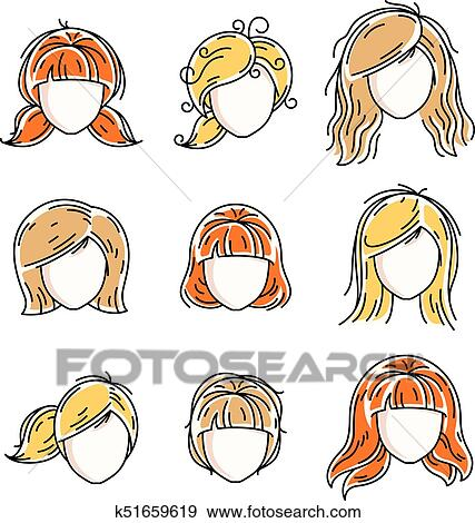 Collection Of Women Faces Human Heads Diverse Vector
