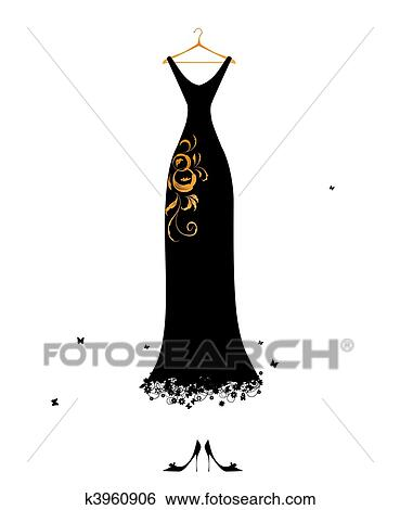 Clip Art Of Evening Dress Black On Hangers K3960906 Search Clipart